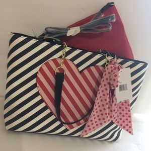 Betsey Johnson Striped Heart Tote with Pouch